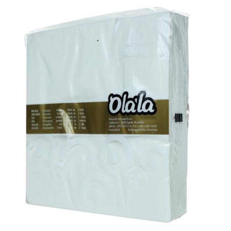 Salvete 40x40/50 2-slojne - bijele Ola-la 50kom/pak